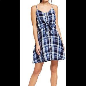 Universal Thread, blue plaid, sleeveless tie dress